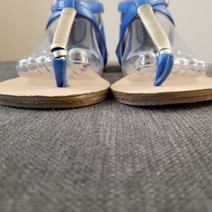 Just Fab Sandals Flats Buckle Faux Shoes - Size 8